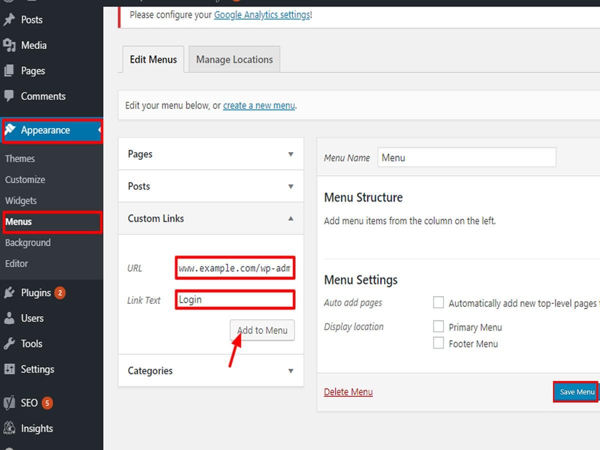 Add-the-WordPress-Login-URL-to-Menu-Bar