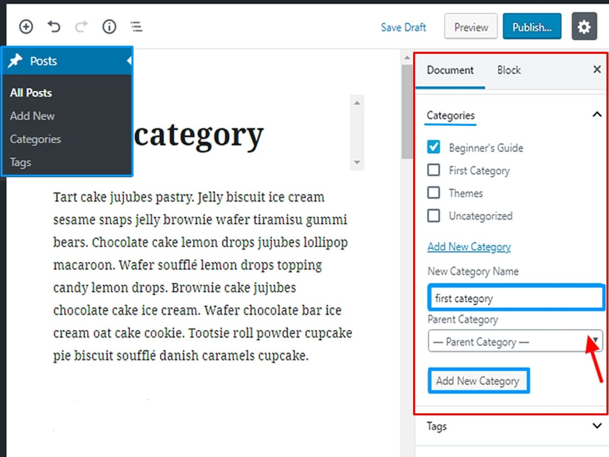 adding category in wordpress