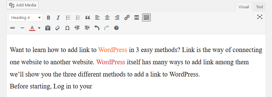 change text color in WordPress
