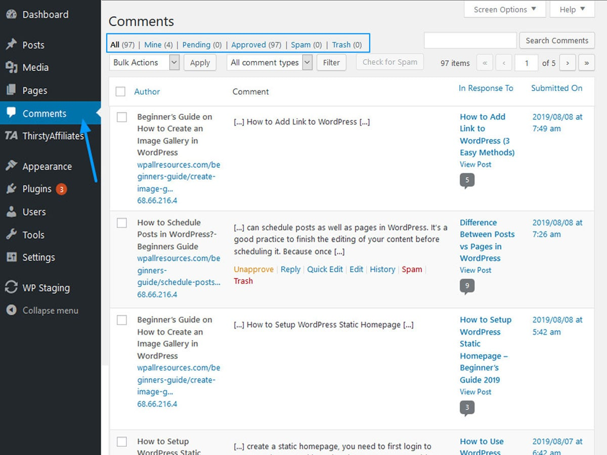 Moderate-comment-in-WordPress