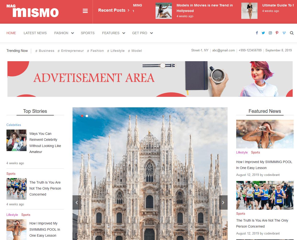 news magazine site in WordPress using mismo