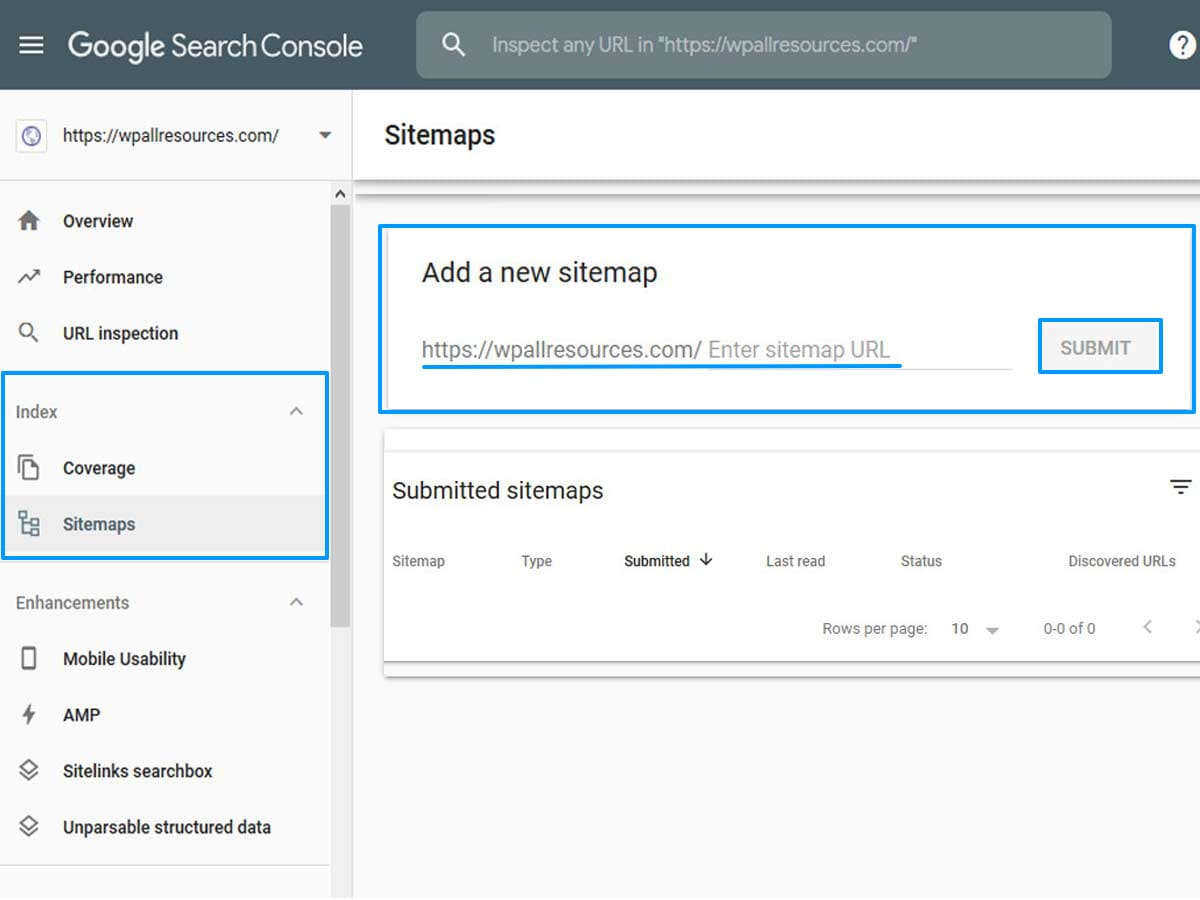 submit sitemap to google console