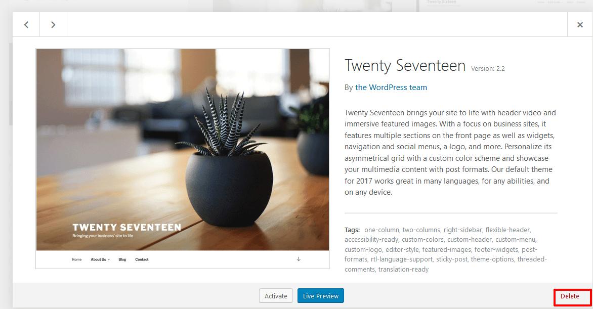 Delete-WordPress-theme