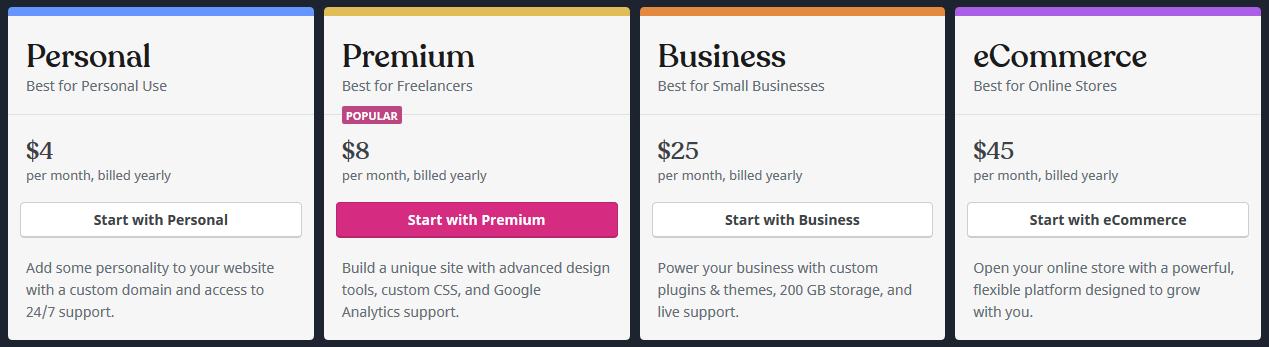 WordPress.com pricing