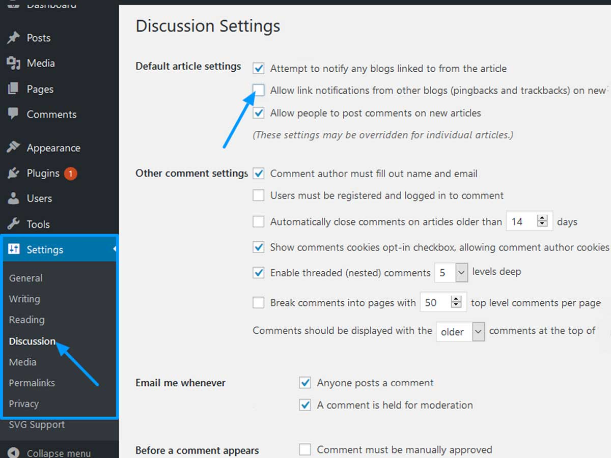 Discussion-settings