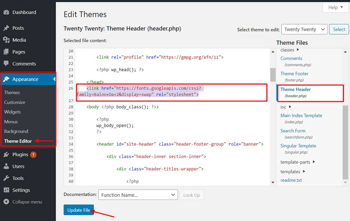 Add-embed-code-in-header