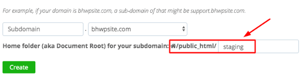 subdomain-WordPress-staging-site