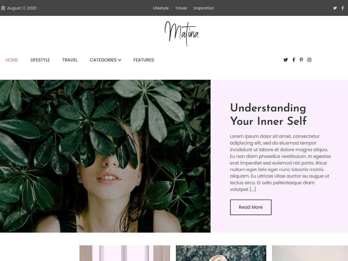 Matina creative blog WordPress theme